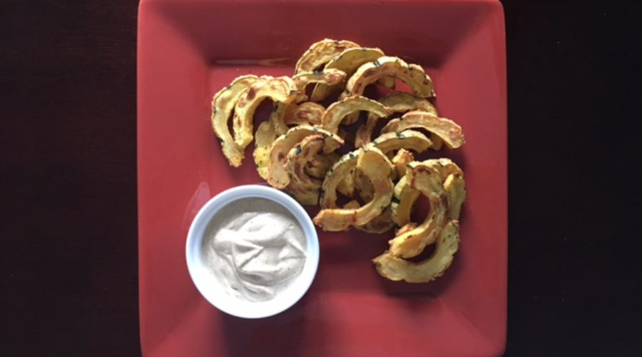Maple Glazed Delicata Squash & Cashew Cream Dip